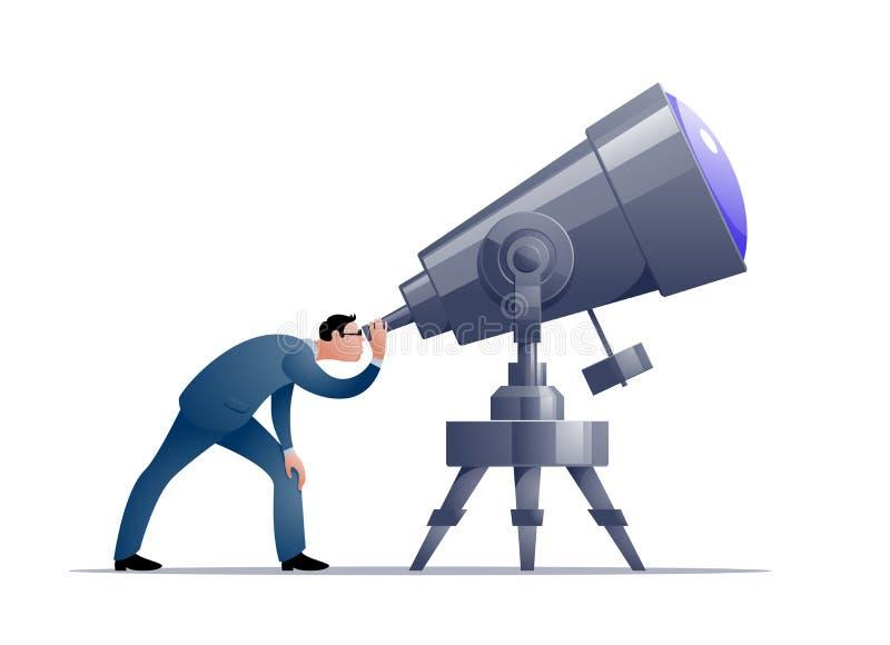 Astrónomo de la historieta del vector que mira a través de un telescopio ilustración del vector