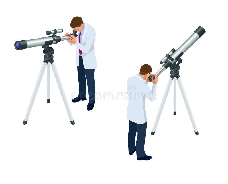 Astrônomo isométrico com os olhares do telescópio no céu isolado no fundo branco ilustração royalty free