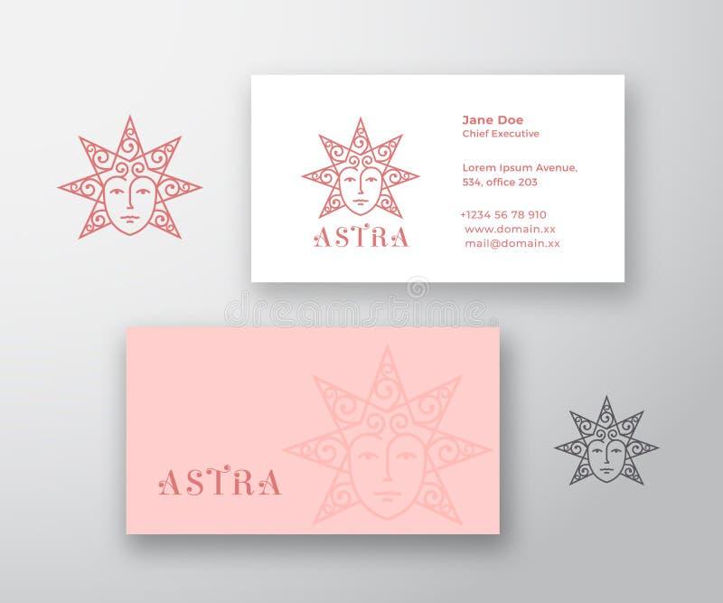 Astra Abstract Vector Logo y plantilla de la tarjeta de visita Protagonice la silueta como cara hermosa de la mujer con el pelo r ilustración del vector