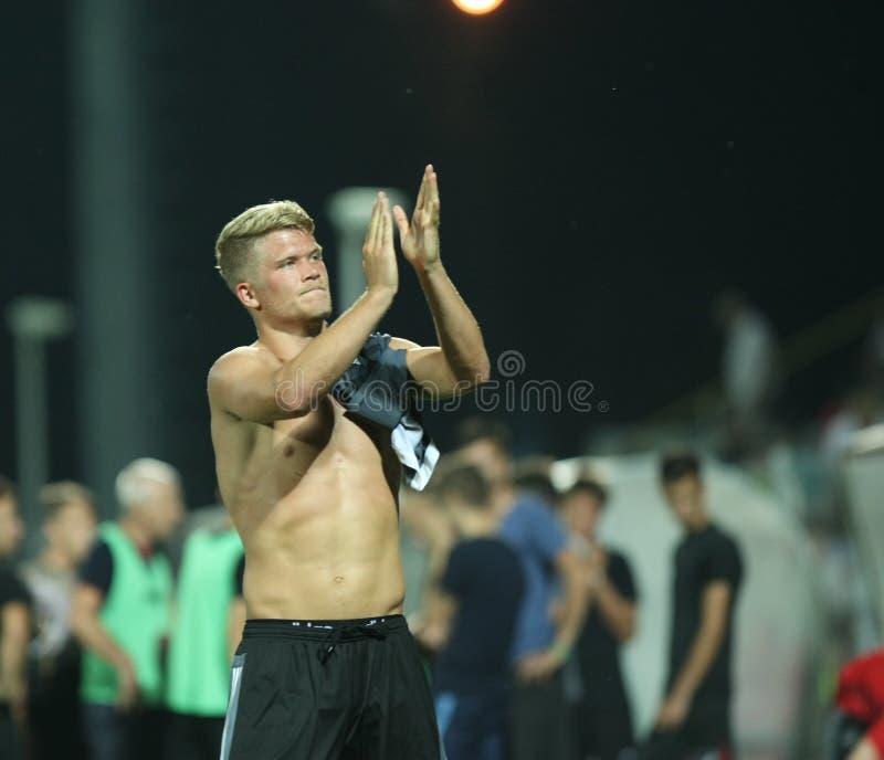Astra Giurgiu contra f C Copenhague - ronda de calificación de la liga de campeones de UEFA 3ro fotografía de archivo libre de regalías