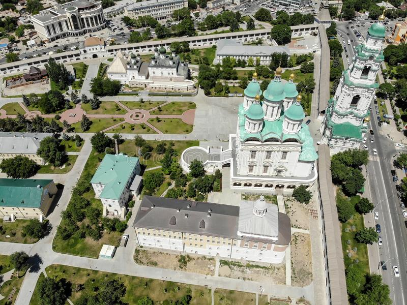 Astrakhan. Astrakhan Kremlin Fortress. Assumption Cathedral and the bell tower of the Astrakhan Kremlin. Flying drone over the Kremlin. Panorama of the city of royalty free stock image