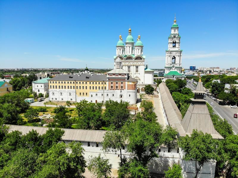 Astrakhan. Astrakhan Kremlin Fortress. Assumption Cathedral and the bell tower of the Astrakhan Kremlin. Flying drone over the Kremlin. Panorama of the city of royalty free stock images