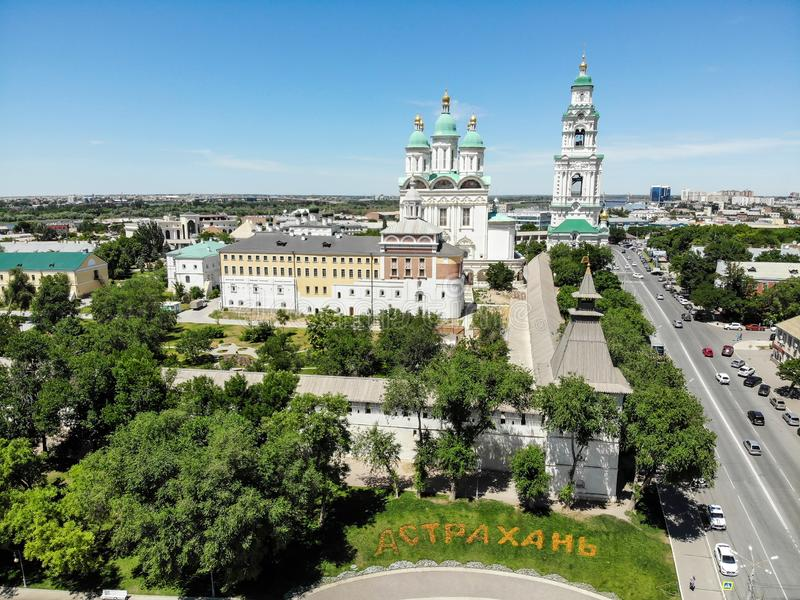 Astrakhan. Astrakhan Kremlin Fortress. Assumption Cathedral and the bell tower of the Astrakhan Kremlin. Flying drone over the Kremlin. Panorama of the city of stock images