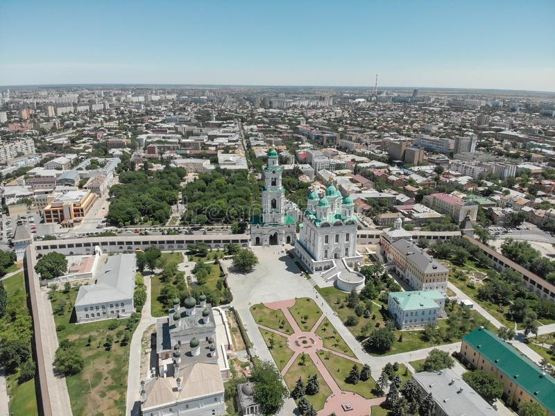 Astrakhan. Astrakhan Kremlin. Fortress. Assumption Cathedral and the bell tower of the Astrakhan Kremlin. Flying drone over the. Kremlin. Panorama of the city royalty free stock photo