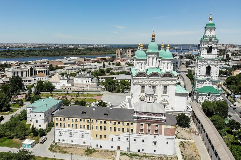 Astrakhan. Astrakhan Kremlin. Fortress. Assumption Cathedral and the bell tower of the Astrakhan Kremlin. Flying drone over the. Kremlin. Panorama of the city stock images