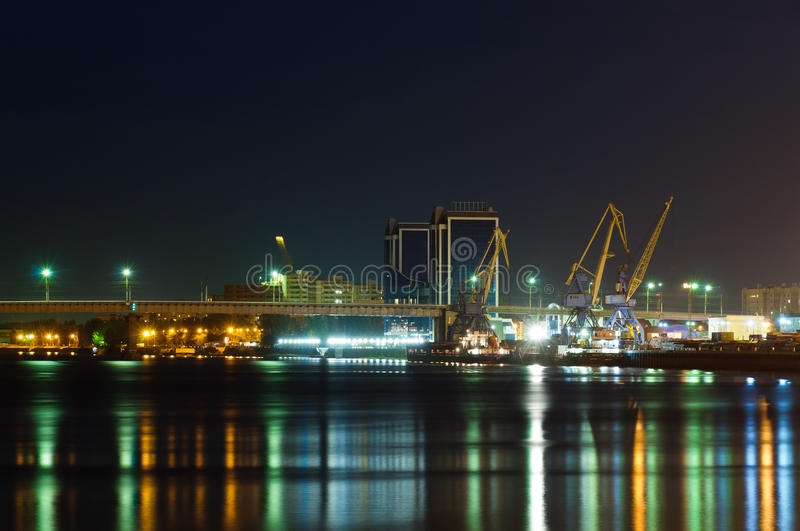 Astrakhan harbour at night. Astrakhan harbour an volga river in Russia at night royalty free stock photos