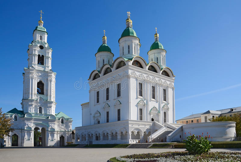 Astrakhan Kremlin. Uspensky Cathedral and Bell Tower of the Kremlin in Astrakhan, Russia royalty free stock photography