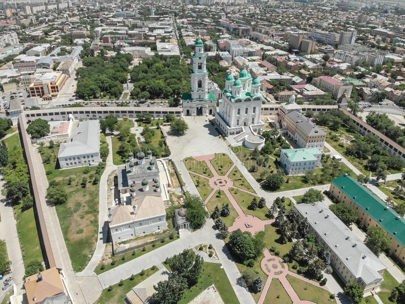 Astrakhan. Astrakhan Kremlin. Fortress. Assumption Cathedral and the bell tower of the Astrakhan Kremlin. Flying drone over the. Kremlin. Panorama of the city royalty free stock photography