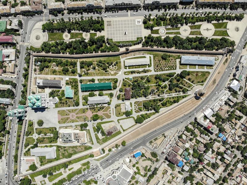 Astrakhan. Astrakhan Kremlin and Lenin Square top view. Fortress. Assumption Cathedral and the bell tower of the Astrakhan Kremlin. Flying drone over the royalty free stock photo