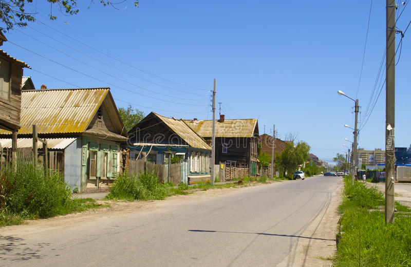 Astrakhan. Old houses on the streets of Astrakhan. Russia stock photos