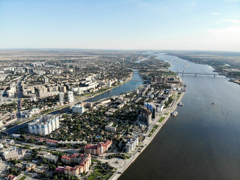 Astrakhan. Panorama of the city of Astrakhan. The bridge over the highway bridge across the Volga. Monument to Peter 1 on the. Central embankment of the city, a royalty free stock photos