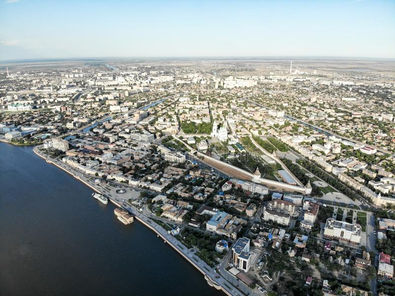 Astrakhan. Panorama of the city of Astrakhan.Astrakhan Kremlin. Assumption Cathedral and the bell tower of the Astrakhan Kremlin. Astrakhan. Panorama of the city stock images