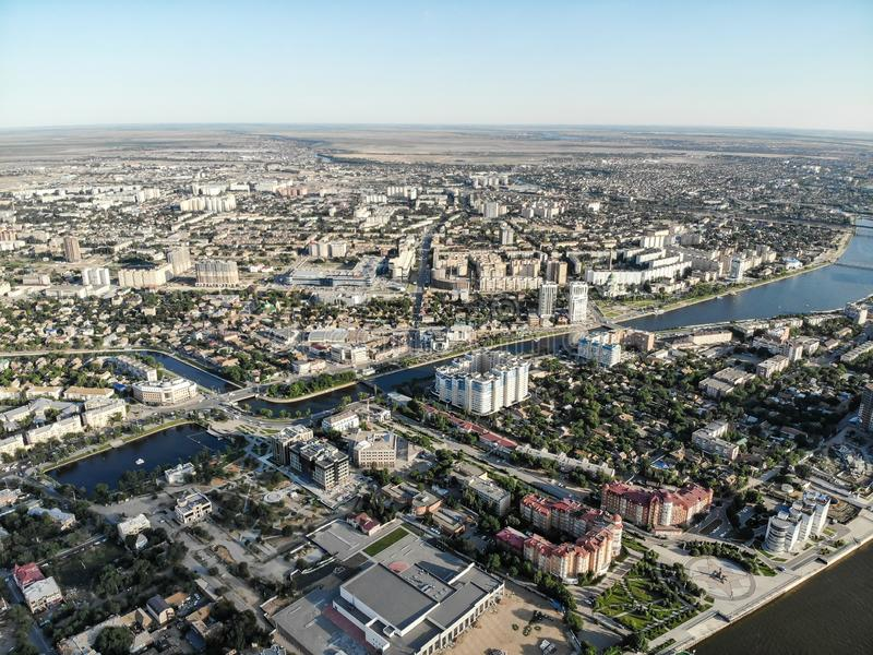Astrakhan. Panorama of the city of Astrakhan. Swan Lake. The bridge over the highway bridge across the Volga. Monument to Peter 1 on the central embankment of stock image