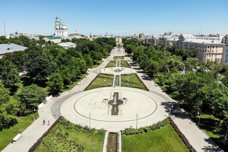 Astrakhan. Prospect name of Lenin.Astrakhan Kremlin. Assumption Cathedral and the bell tower of the Astrakhan Kremlin. Astrakhan. Prospect name of Lenin royalty free stock photography