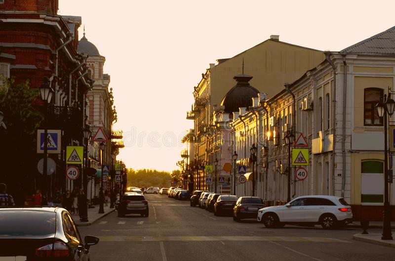 Astrakhan. Russia. Evening street of the city of Astrakhan stock photography