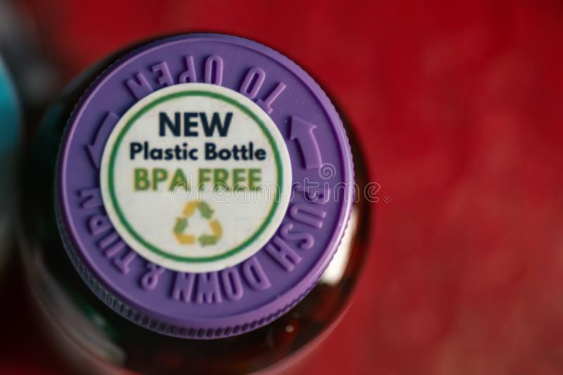Astrakhan Russia, 02 Fed. 2019: New Plastic Bottle Bpa Free Green Stamp on the top of supplement bottle. Astrakhan Russia, 02 Fed. 2019: New Plastic Bottle Bpa royalty free stock photo