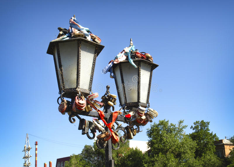 Astrakhan. Russia. Lanterns on the bridge of lovers in the city of Astrakhan royalty free stock photography