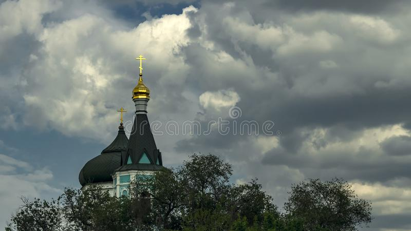 Astrakhan, Russia - May 13, 2019: Church of the Intercession of the Blessed Virgin of the Russian Orthodox Old Believers. The. Church on the background of stock photography
