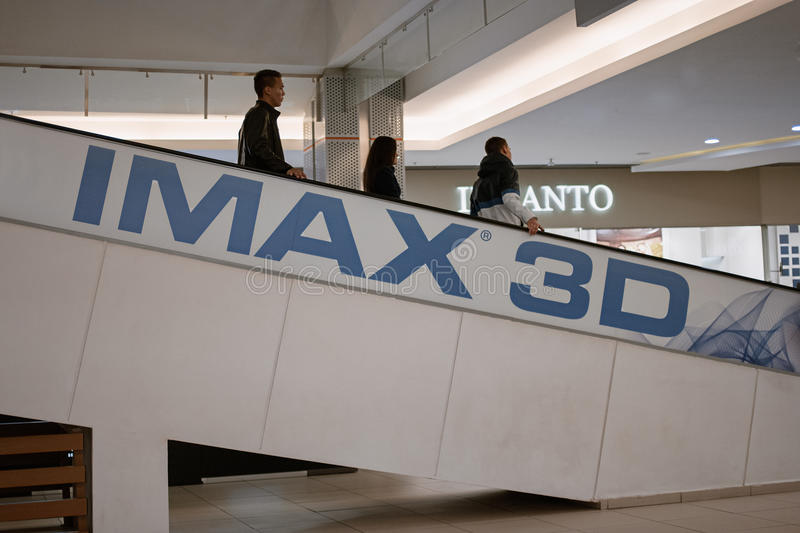 Astrakhan Russia: October 26, 2016: IMAX 3D Ad in local mall. IMAX is a motion picture film format created by Canadian. Company IMAX corporation royalty free stock image