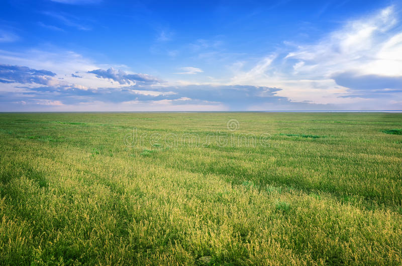 Astrakhan steppe under beautiful sky. Panorama of nature near salt lake Baskunchak. Astrakhan steppe under beautiful sky shoot in May. Spring is beautiful time stock photo