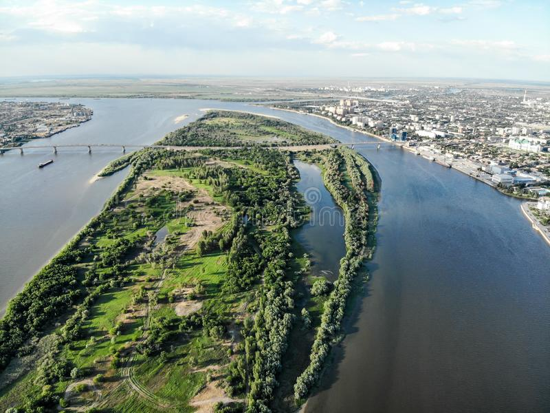 Astrakhan. Volga. The bridge over the highway bridge across the Volga. Panorama of the city of Astrakhan. The central embankment. Of the city, Swan Lake stock images