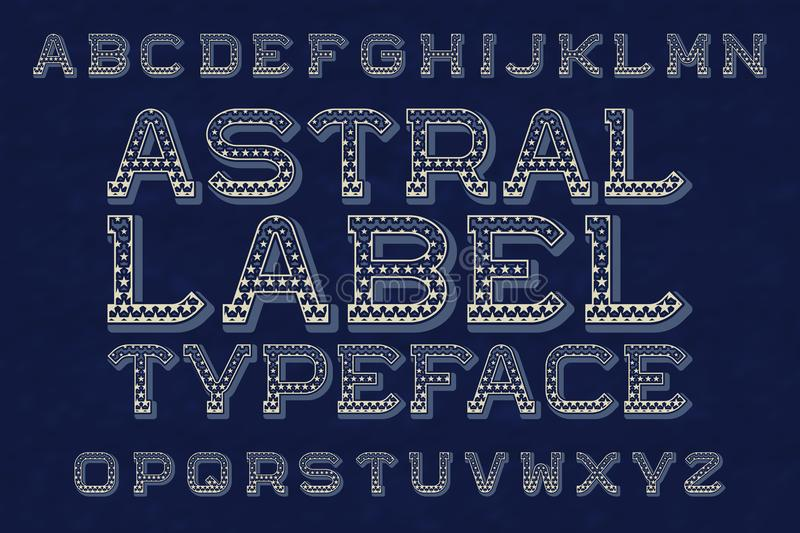 Astral label typeface. Isolated english alphabet.  vector illustration