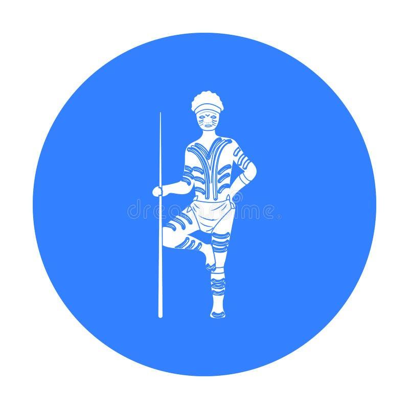Astralian aborigine icon in black style isolated on white background. Australia symbol stock vector illustration. Astralian aborigine icon in black design vector illustration
