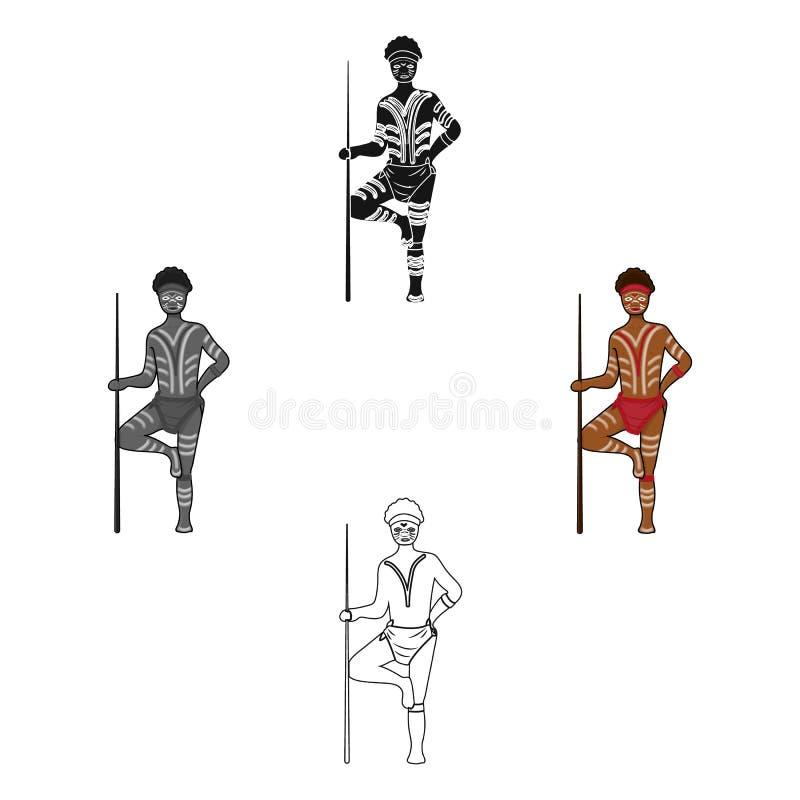Astralian aborigine icon in cartoon,black style isolated on white background. Australia symbol stock vector illustration. Astralian aborigine icon in cartoon stock illustration