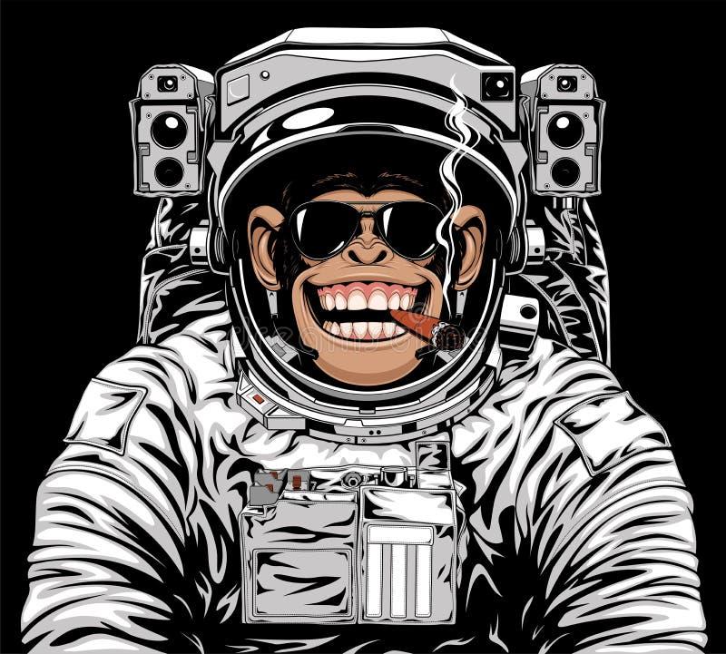 Astranavt alegre del mono stock de ilustración
