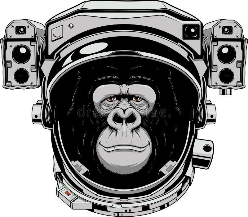 Astranavt alegre do macaco ilustração royalty free