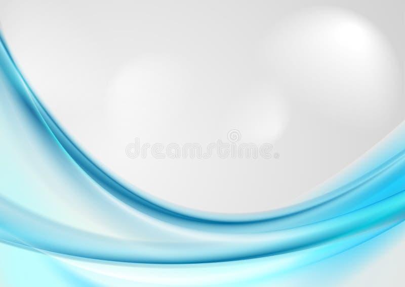 Astratti blu luminosi lisciano il fondo delle onde illustrazione di stock