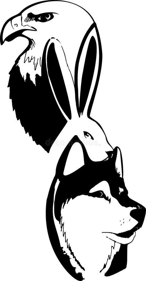 Astrazione in bianco e nero dagli animali, aquila, lepre, lupo, passo di danza royalty illustrazione gratis