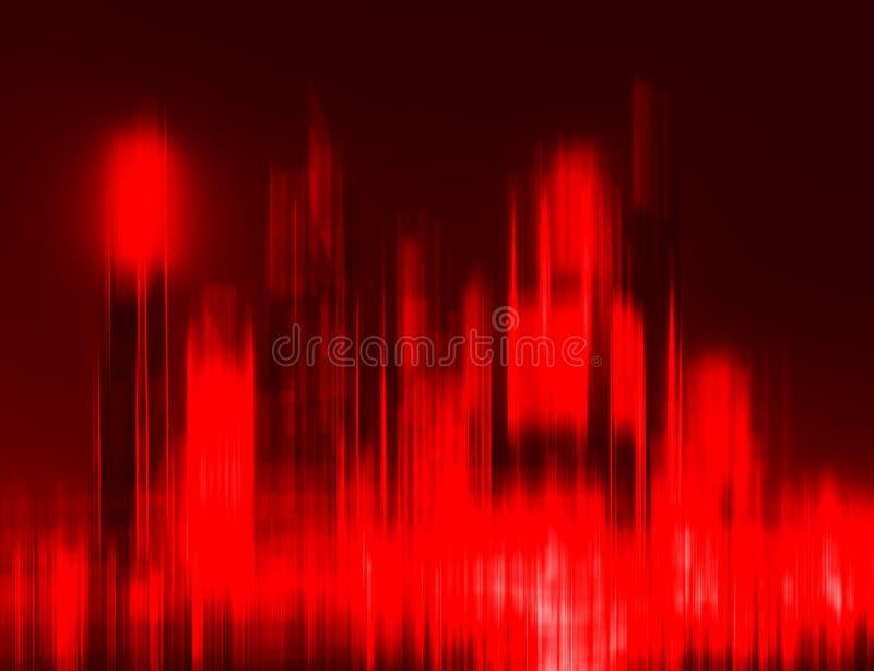 Astrazione rossa vibrante orizzontale della sfuocatura del grattacielo immagini stock