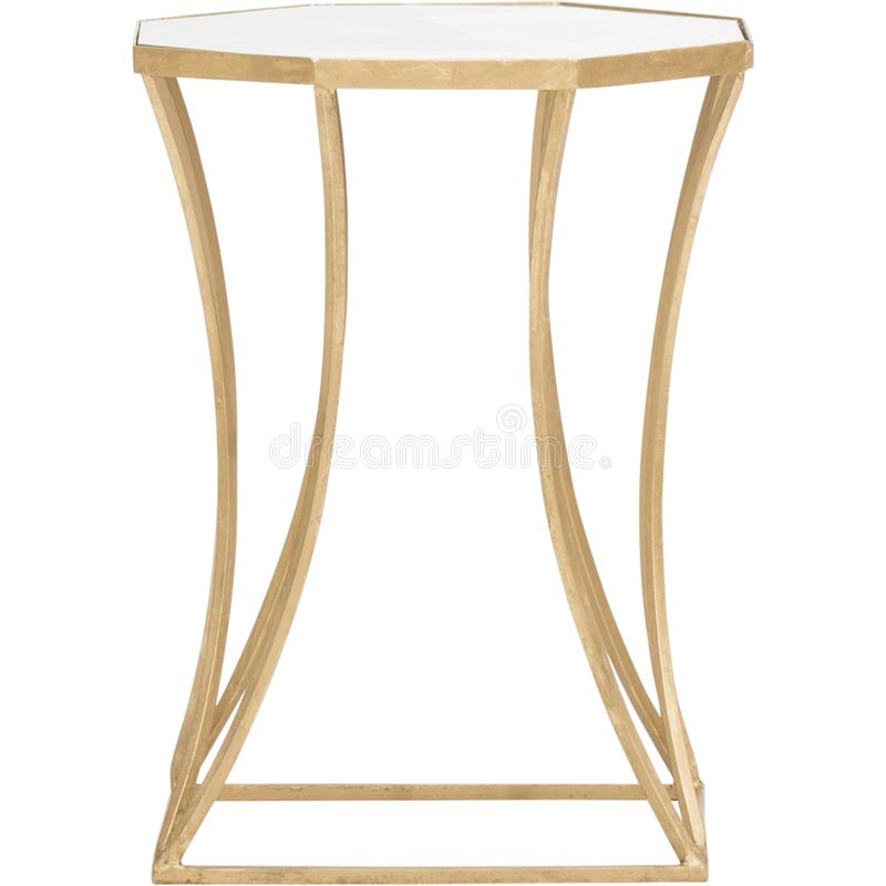 Astre End Table Table Base Color: Gold Leaf, Emery End Table, Designs Henrie Cross End Table with white background royalty free stock photo