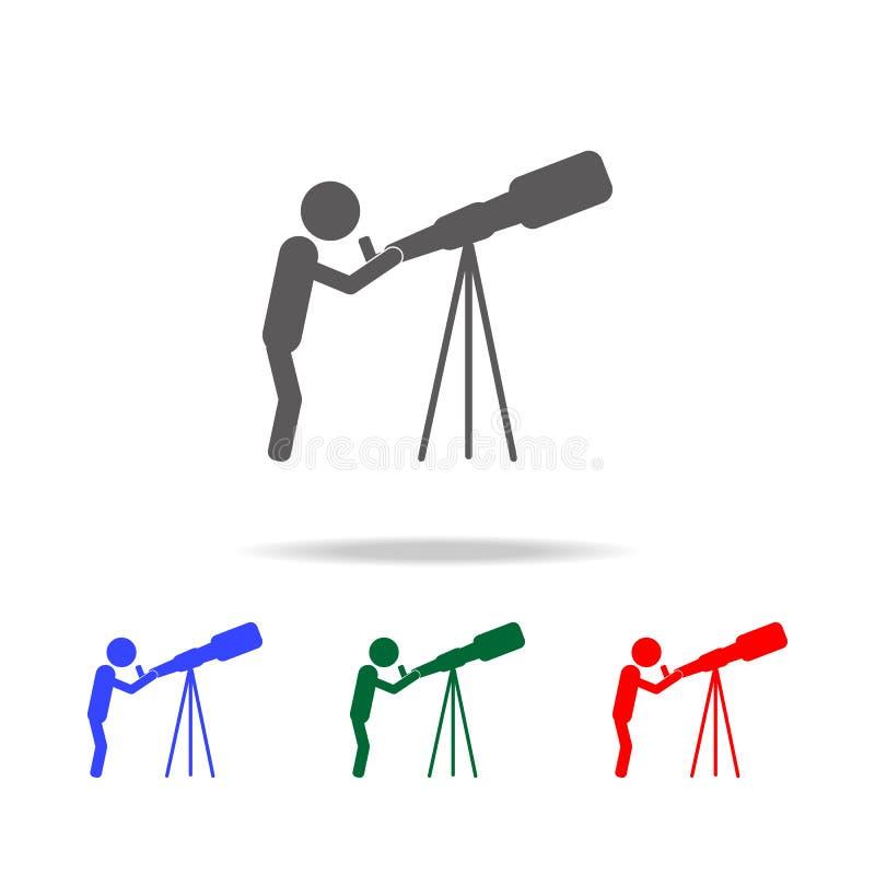 astrix ученый смотря через значок телескопа Элементы профессии людей в multi покрашенных значках Наградная качественная диаграмма иллюстрация вектора
