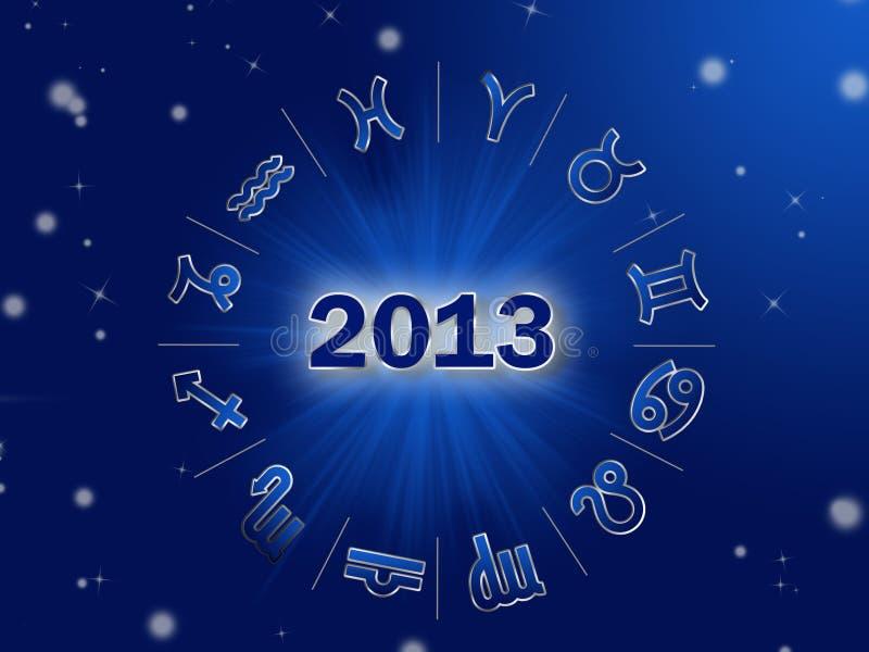 Astro 2013, κύκλος ωροσκοπίων με zodiac τα σημάδια διανυσματική απεικόνιση