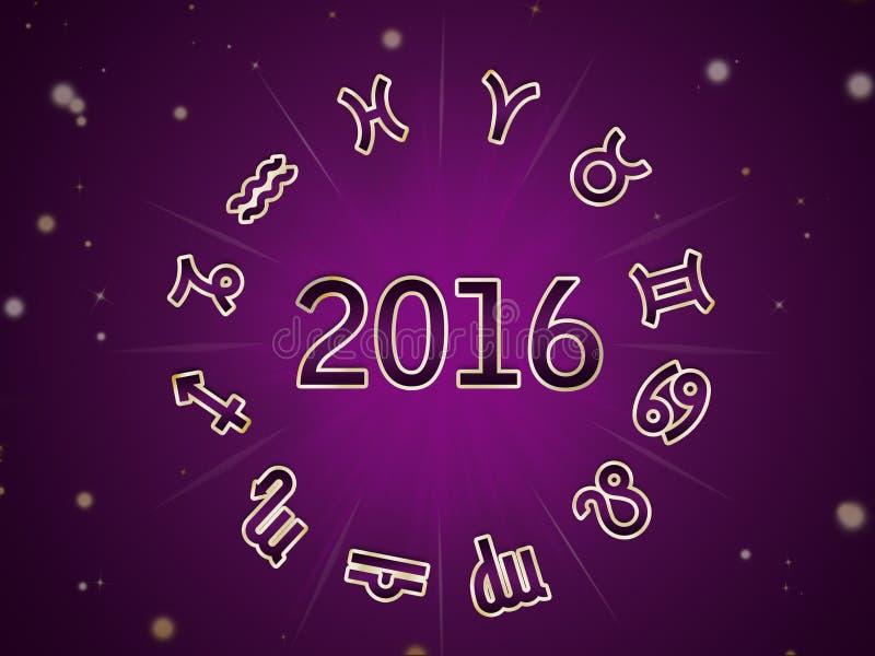 Astro födelse- diagram, zodiakcirkel 2016 vektor illustrationer