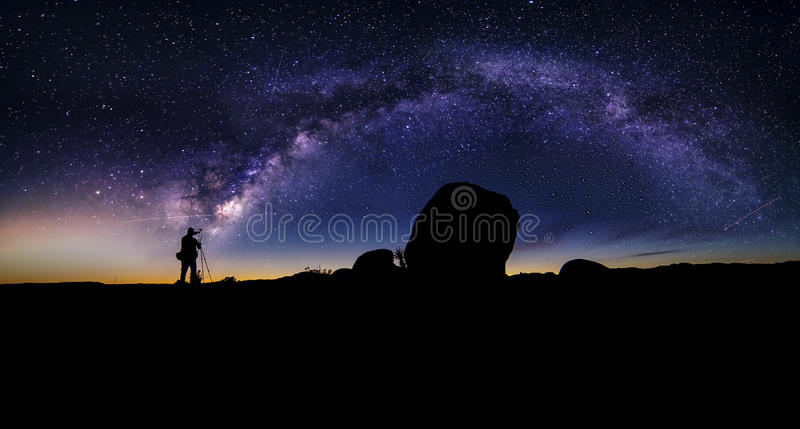 Astro Photographer in the desert and view of Milky Way Galaxy. Photographer doing astro photography in a desert nightscape with milky way galaxy. The background royalty free stock image