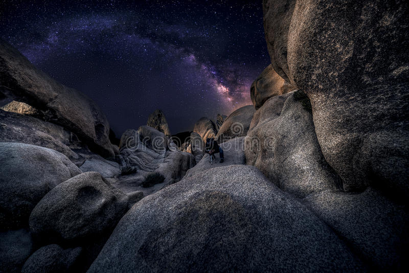 Astro Photographer in the desert and view of Milky Way Galaxy. Photographer doing astro photography in a desert nightscape with milky way galaxy. The background royalty free stock images