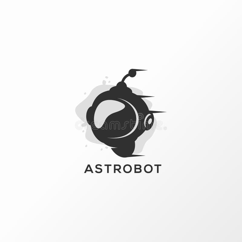 Astrobot-Logoentwurfs-Vektorillustration gebrauchsfertig stock abbildung