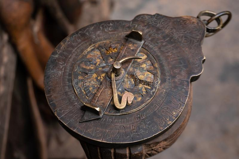 Astrolabe - an ancient compass tool made by desert Berber people in Maghreb. Morocco stock images
