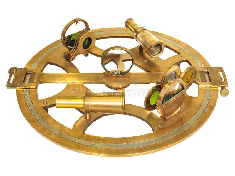 Astrolabe antique avec des lentilles d'isolement sur le blanc photographie stock libre de droits