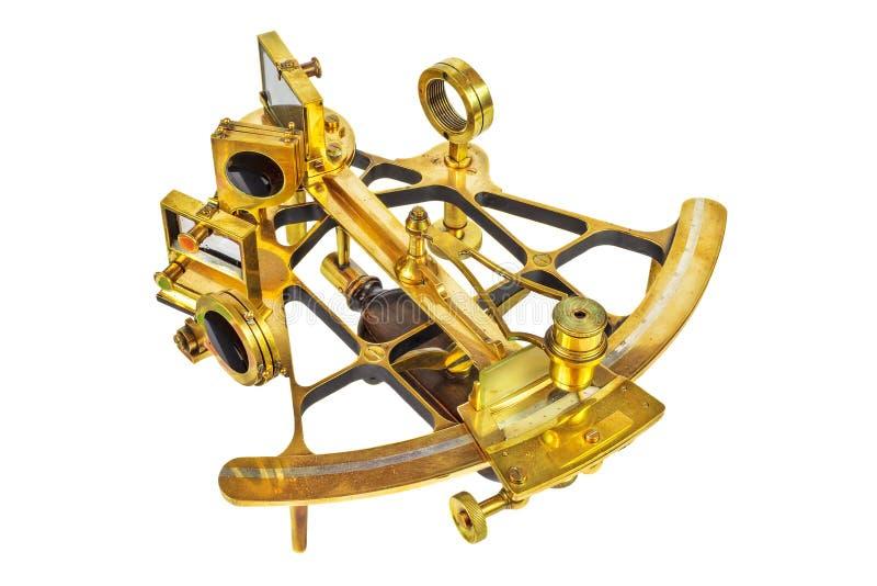 Astrolabe antique avec des lentilles d'isolement sur le blanc photo stock