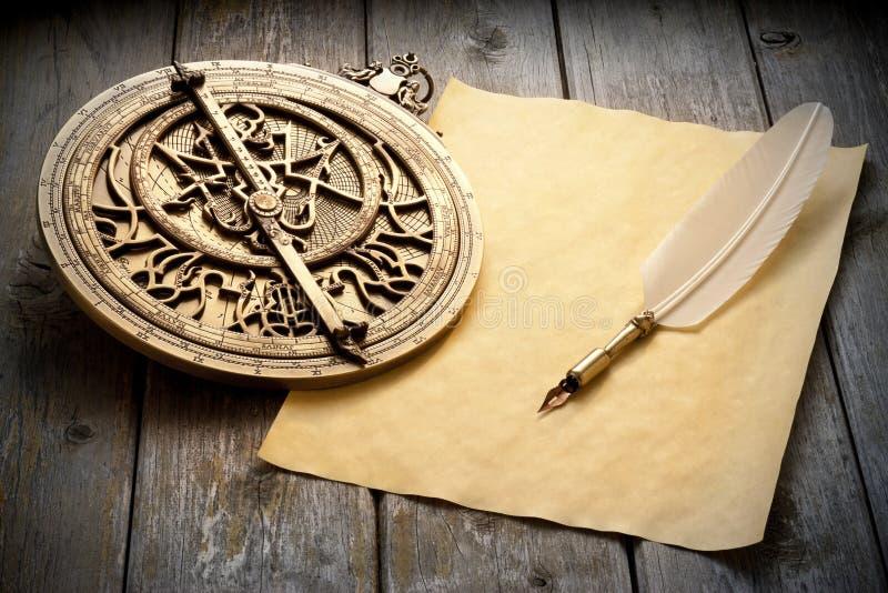 Astrolabe Paper Quill Pen stock photos