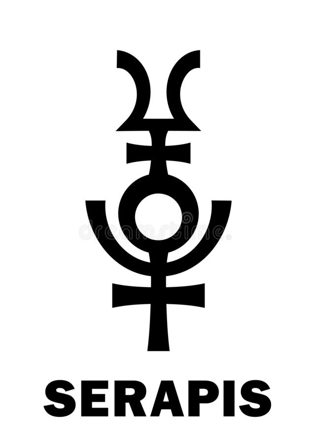 Astrología: Dios Graeco-egipcio helenístico de SERAPIS stock de ilustración