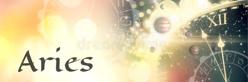 Astrología mística del zodiaco del aries ilustración del vector