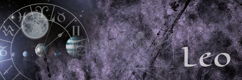 Astrología mística del zodiaco de Leo stock de ilustración