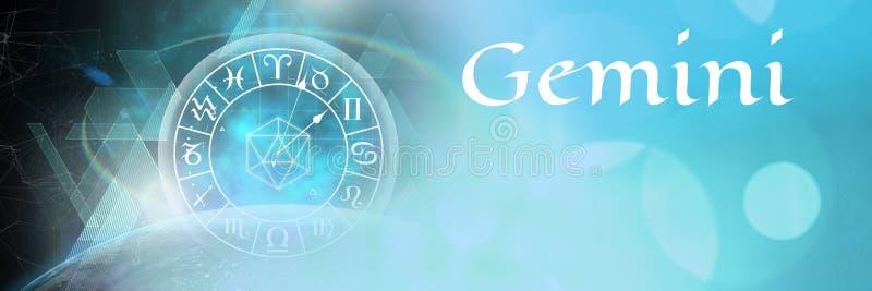 Astrología mística del zodiaco de los géminis ilustración del vector