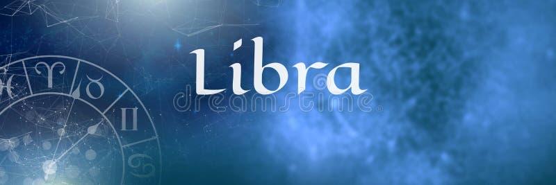 Astrología mística del zodiaco del libra stock de ilustración