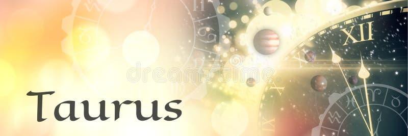 Astrología mística del zodiaco del tauro ilustración del vector